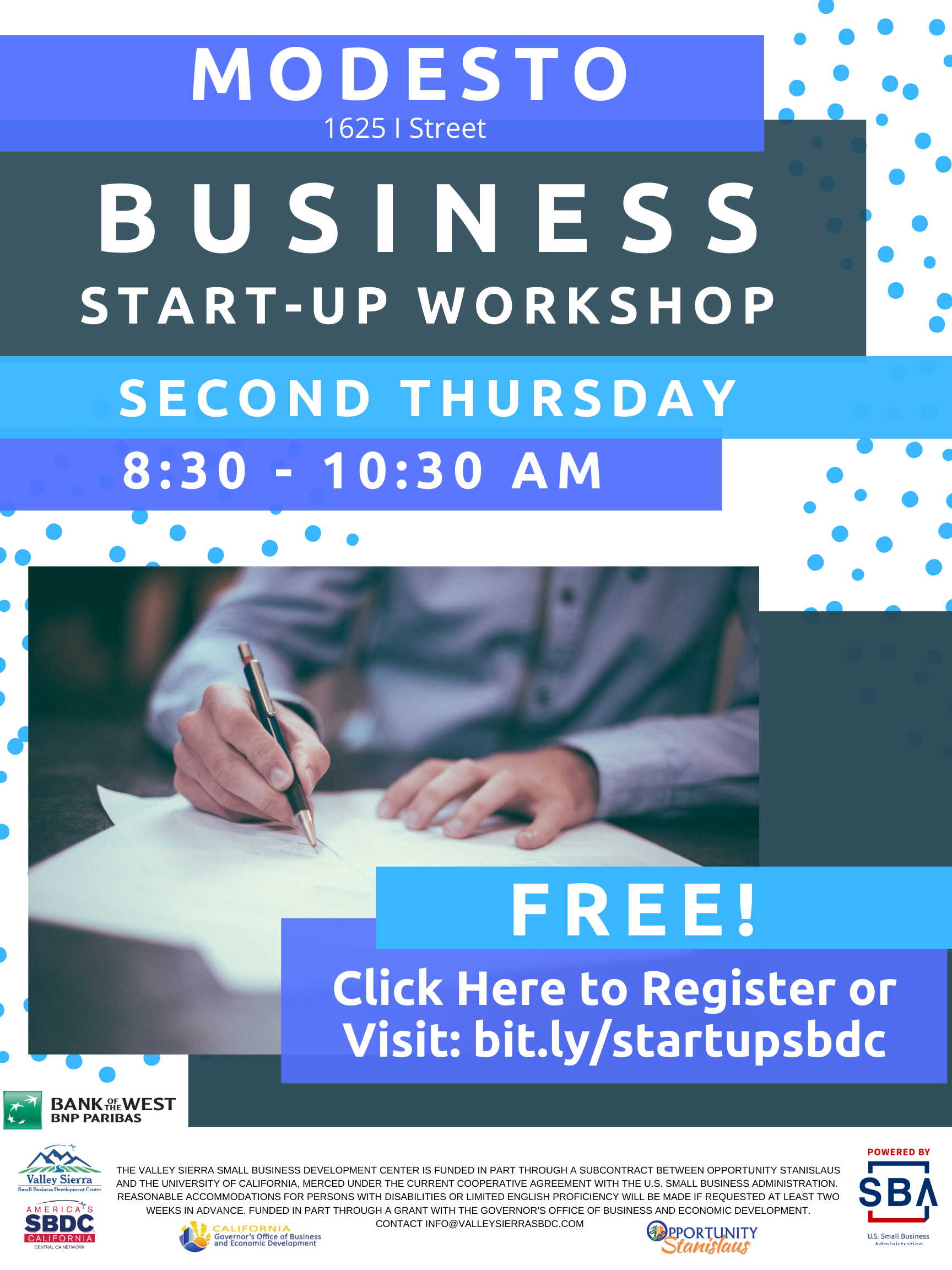 Event Flyer, Modesto Business Start Up, Second Thursday at the Valley Sierra SBDC. FREE.