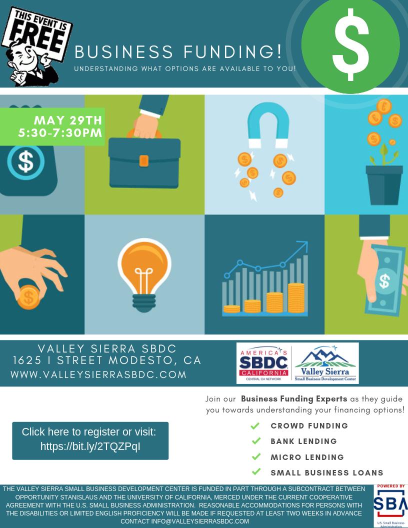 New Modesto Business Funding Valley Sierra Sbdc