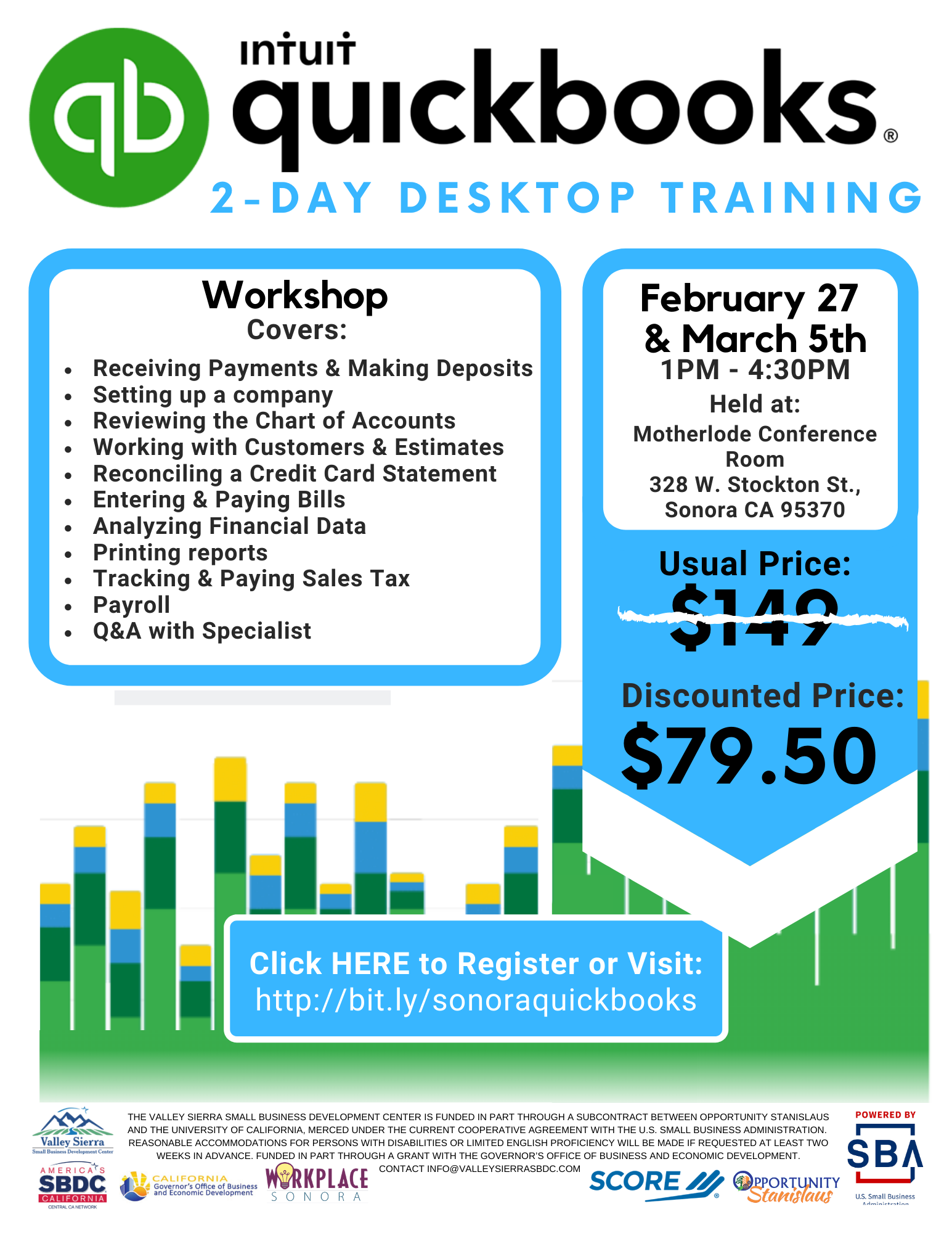 Event Flyer, Sonora QuickBooks Online Training, Feb 27th and March 4th, $79.50, at Workplace Sonora.