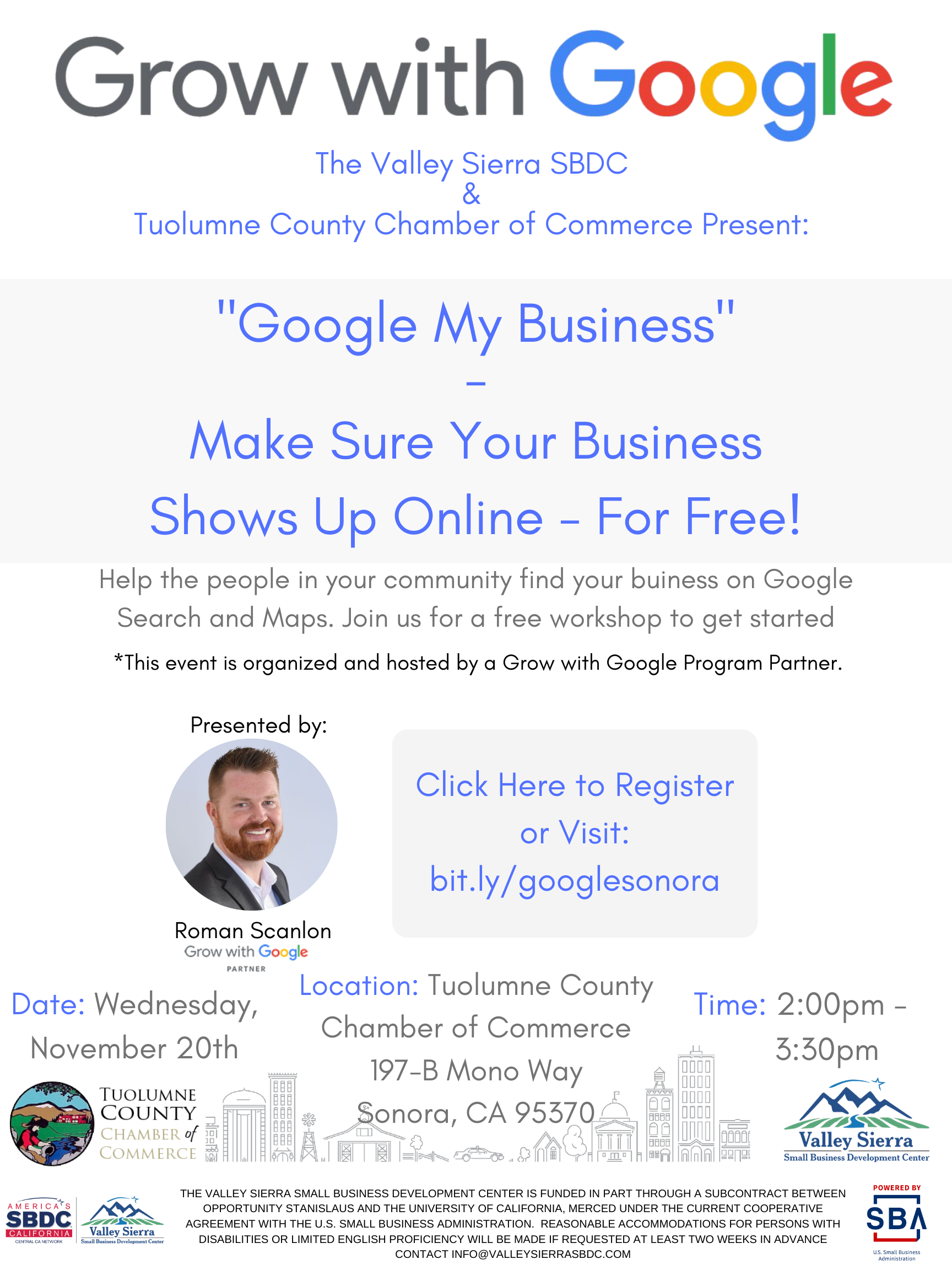 Google My Business Flyer hosted by Valley Sierra SBDC & Tuolumne County Chamber of Commerce