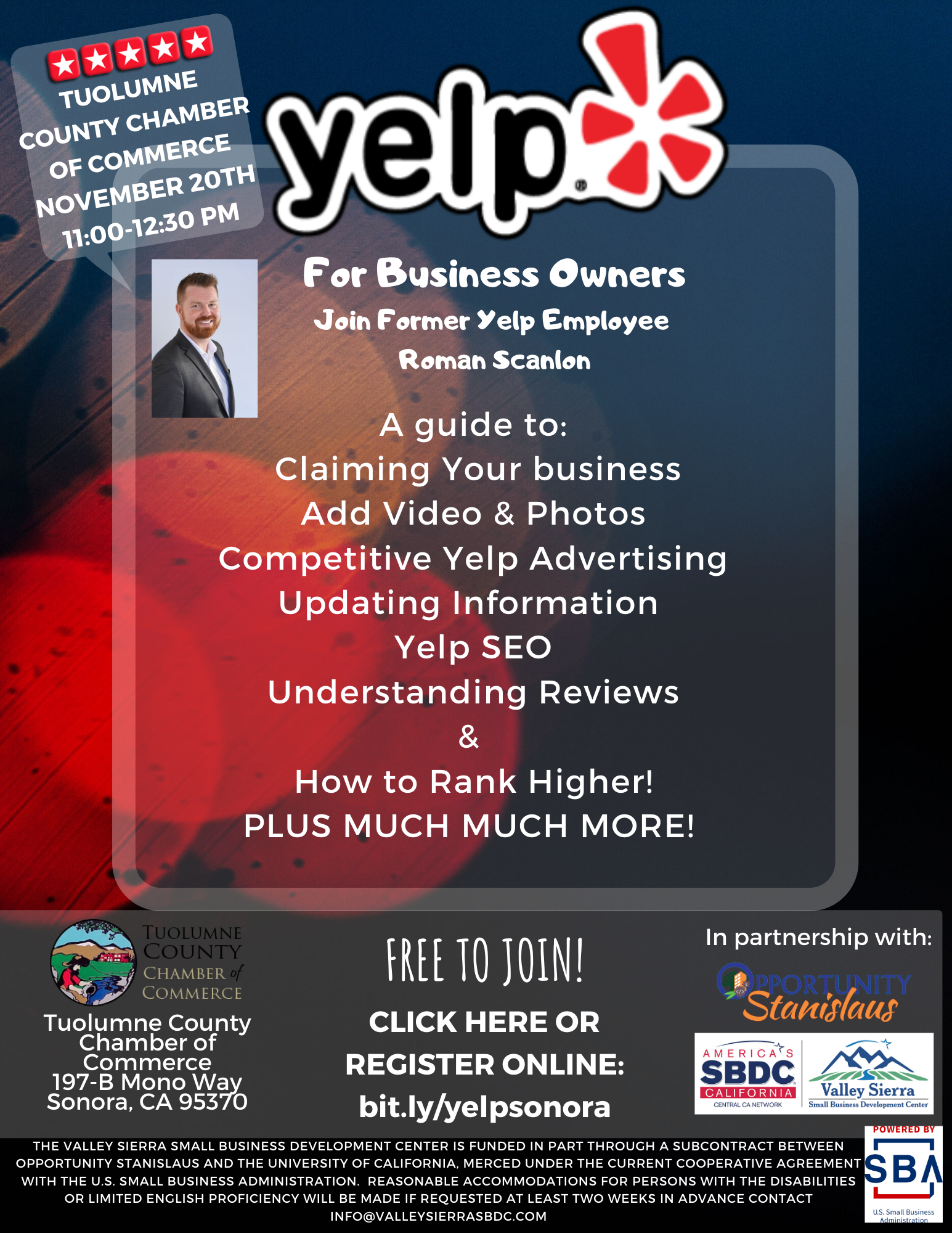 Yelp Business Flyer hosted by Valley Sierra SBDC & Tuolumne County Chamber of Commerce