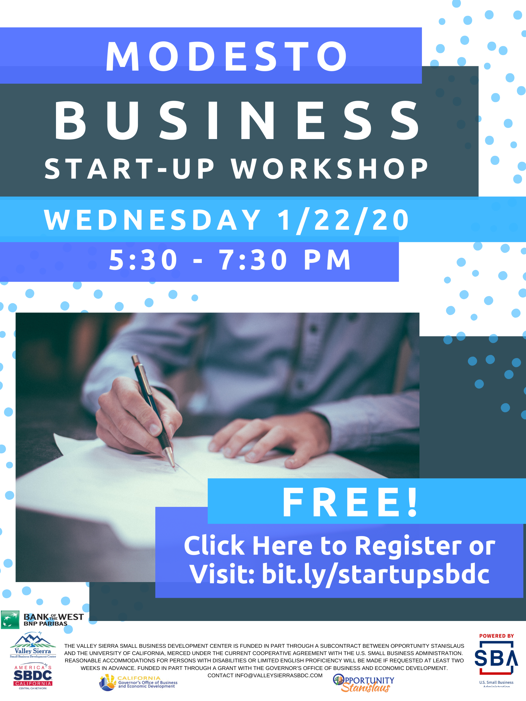Event Flyer, Modesto Business Start Up, Wednesday 1/22/20 at the Valley Sierra SBDC. FREE.
