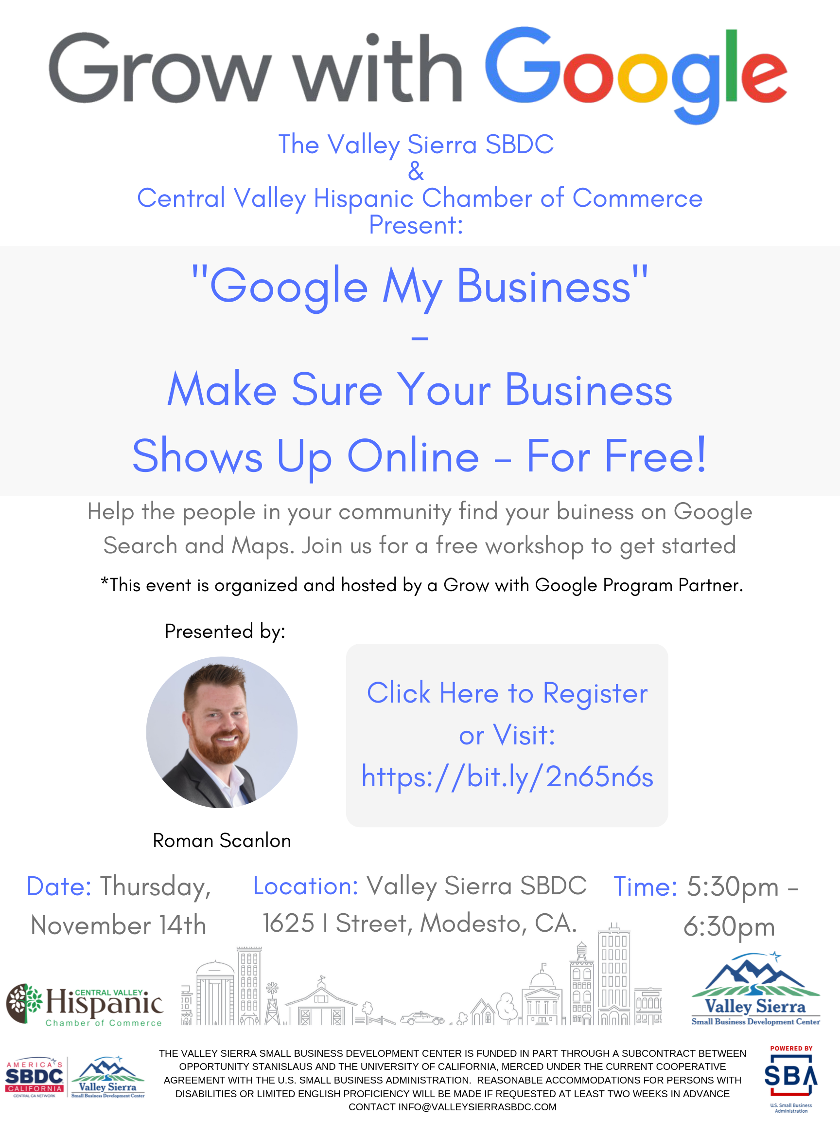 Event Flyer, Grow with Google, Date: Thursday, Nov. 14th, 2019, Time, 5:30pm - 6:30pm, For more details contact info@valleysierrasbdc.com.